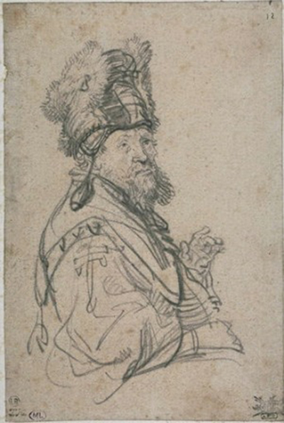 Bearded Old Man with a Fur Cap Rembrandt