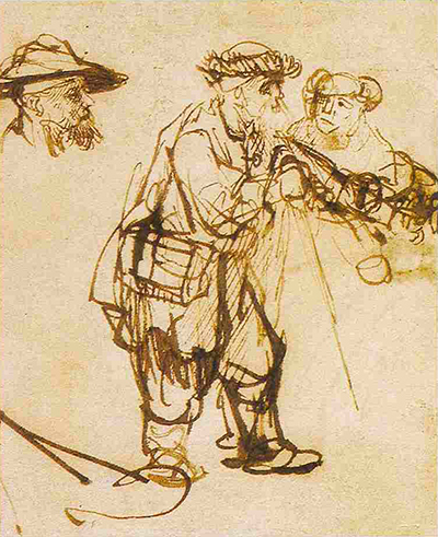 Blind Old Man Guided by a Woman Rembrandt