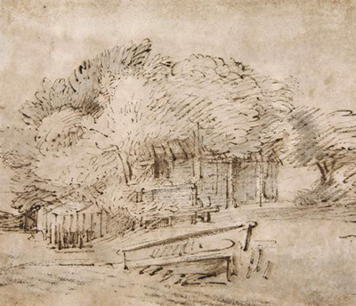 Farmhouse beneath Trees, with a Footbridge Rembrandt