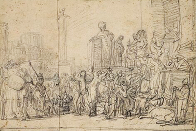 Joseph Distributing Corn in Egypt, after Pieter Lastman Rembrandt