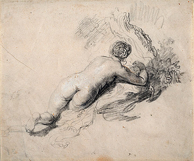 Lying Naked Woman Rembrandt