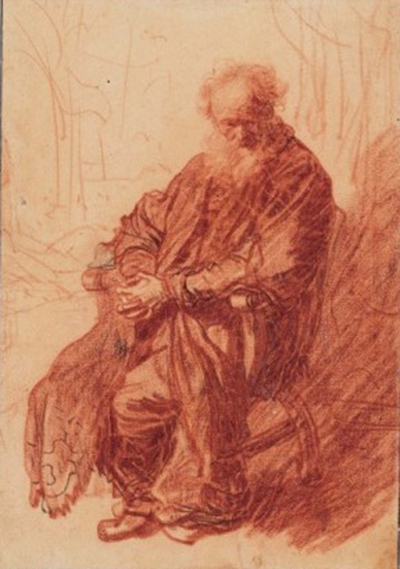 Old Man with Clasped Hands, Seated in an Armchair Rembrandt