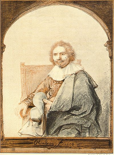 Portrait of a Man in an Armchair, Seen Through a Frame Rembrandt