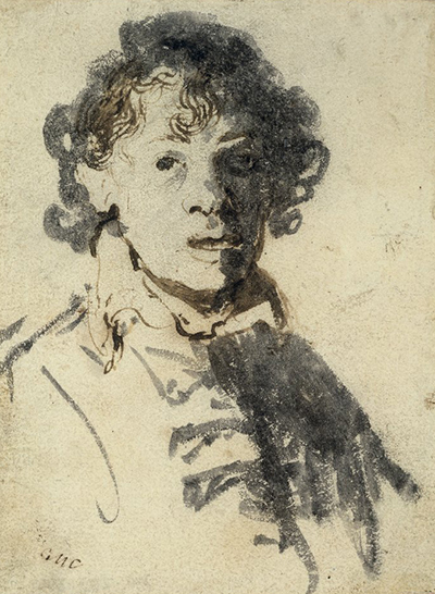 Self-Portrait with Open Mouth Rembrandt