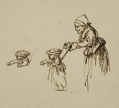 Sheet of Studies, with a Woman Teaching a Child to Walk Rembrandt