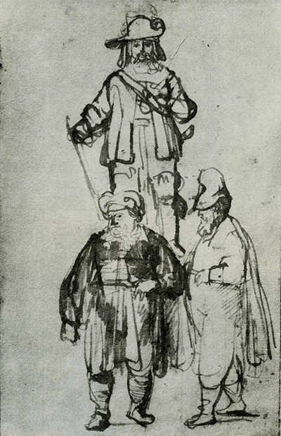 Studies of an Officer, an Oriental and a Man in High Cap Rembrandt