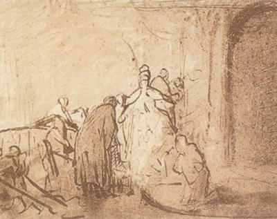 Study for Judas Returning the Thirty Pieces of Silver Rembrandt