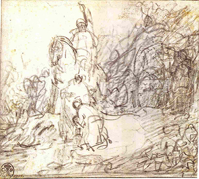 The Baptism of the Eunuch Drawing Rembrandt