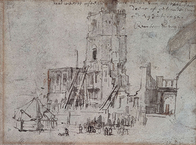 The Ruins of the Old City Hall in Amsterdam (After the Fire) Rembrandt